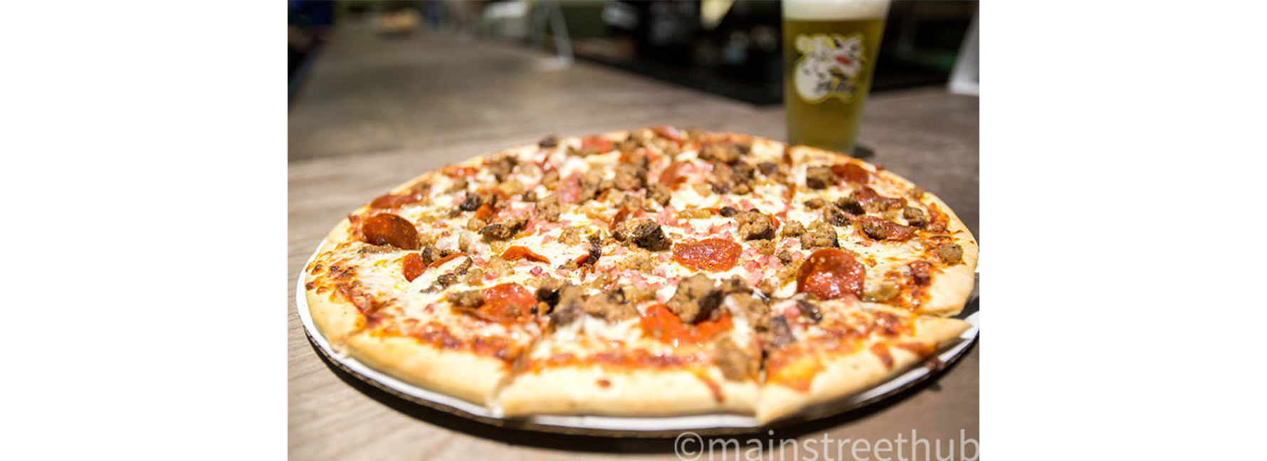 A Pizza from the Back Alley Sport's Pub